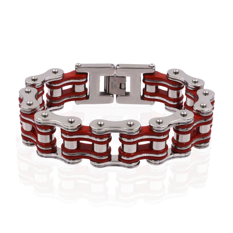 19mm width red bracelet Punk stainless steel braclets for men bicycle motorcycle chain  men's  jewelry gift for a guy wholesale