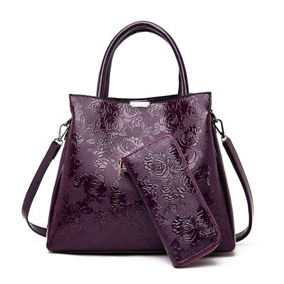 luxury embossed flower floral handbag women bag ladies leather shoulder bags handbags women famous brand designer tote+purse bag