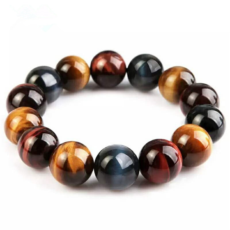 Genuine Natural Colorful Tiger's Eye Gemstone Crystal Round Bead Women Men Powerful Stretch Bracelet