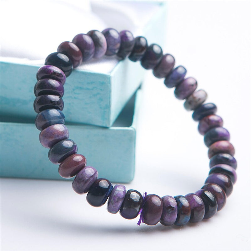 Genuine Natural Sugilite Gemstone Bracelets For Women Female Healing Gemstone Crystal Marquise Abacus Bead Stretch Bracelet