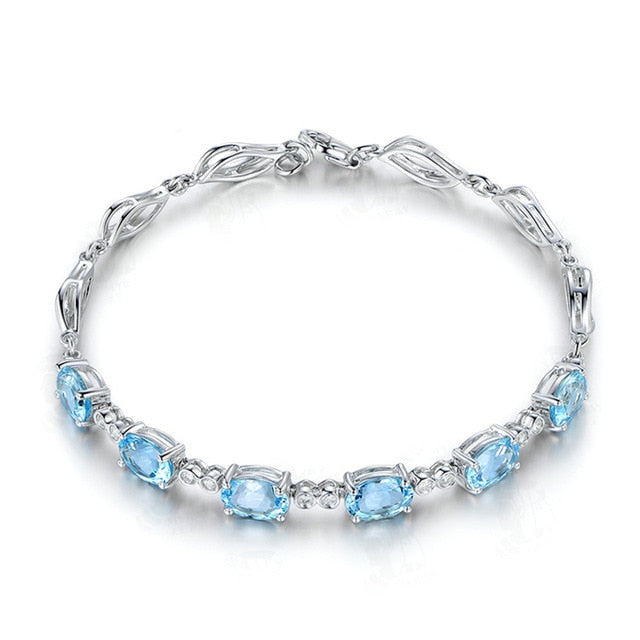 Aquamarine crystal bracelet for women femme her 14k white gold silver jewelry blue gemstone chain girlfriend Christmas gift