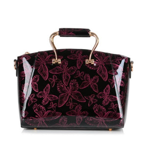 Butterfly print Women Leather Handbags Luxury Handbags Women Bags Designer Handbags High Quality Patent Leather Ladies Totes