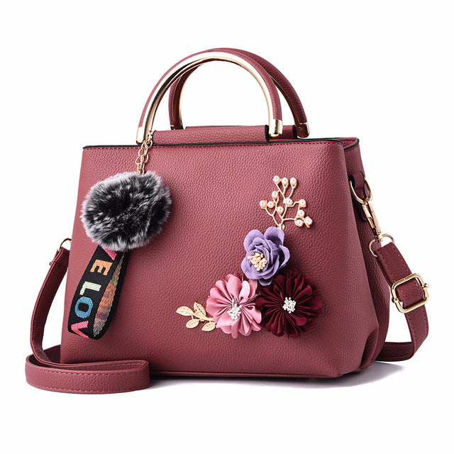 Women Bag Leather Handbag Women Shoulder Bag Tote Flowers Shell Sac A Main Femme Rivets Fur Ball Pendant Luxury Designer Ladies