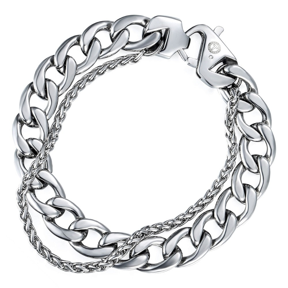 Men's Bracelet Double Chain Silver color Stainless Steel Cuban Link Chain Bracelet Male Hip Hop Jewelry Dropshipping Gifts DB01
