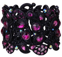 YACQ Stretch Bracelet Vintage Flower Crystal Women Fashion Jewelry Gifts B10 Wholesale Dropshipping Black Gold Silver Color