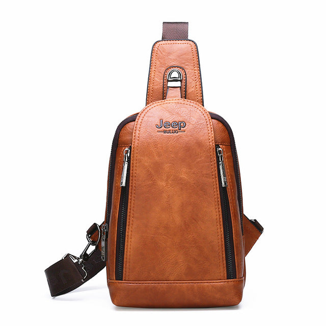 JEEP BULUO Men Crossbody Bag Big Size Daily Chest Bag High Quality Large Capacity Split Leather Shoulder Sling Bag For iPad New