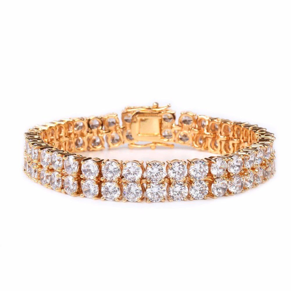 Mens Zircon Tennis Bracelet Chain Charm Hip Hop Style Fashion Jewelry Iced Finish 2 Row Gold Color Tone AAA CZ Bracelet Link 8""