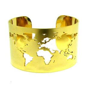 World Map Cut-out Cuff Bangle Bracelet Travel Peace Jewelry Stainless Steel 40mm Wide Laser Engraving Fine Polished Circle Angle