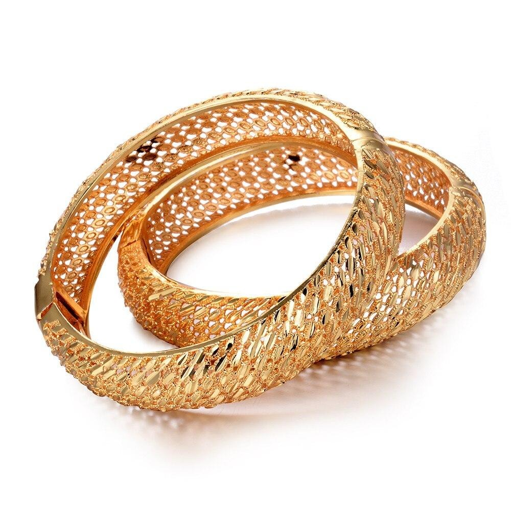 WANDO 4pcs/lot Wedding Jewelry For Women Girls wide Bracelets Gold Color Elegant Arab/Ethiopian India Bridal Bangles Party Gifts