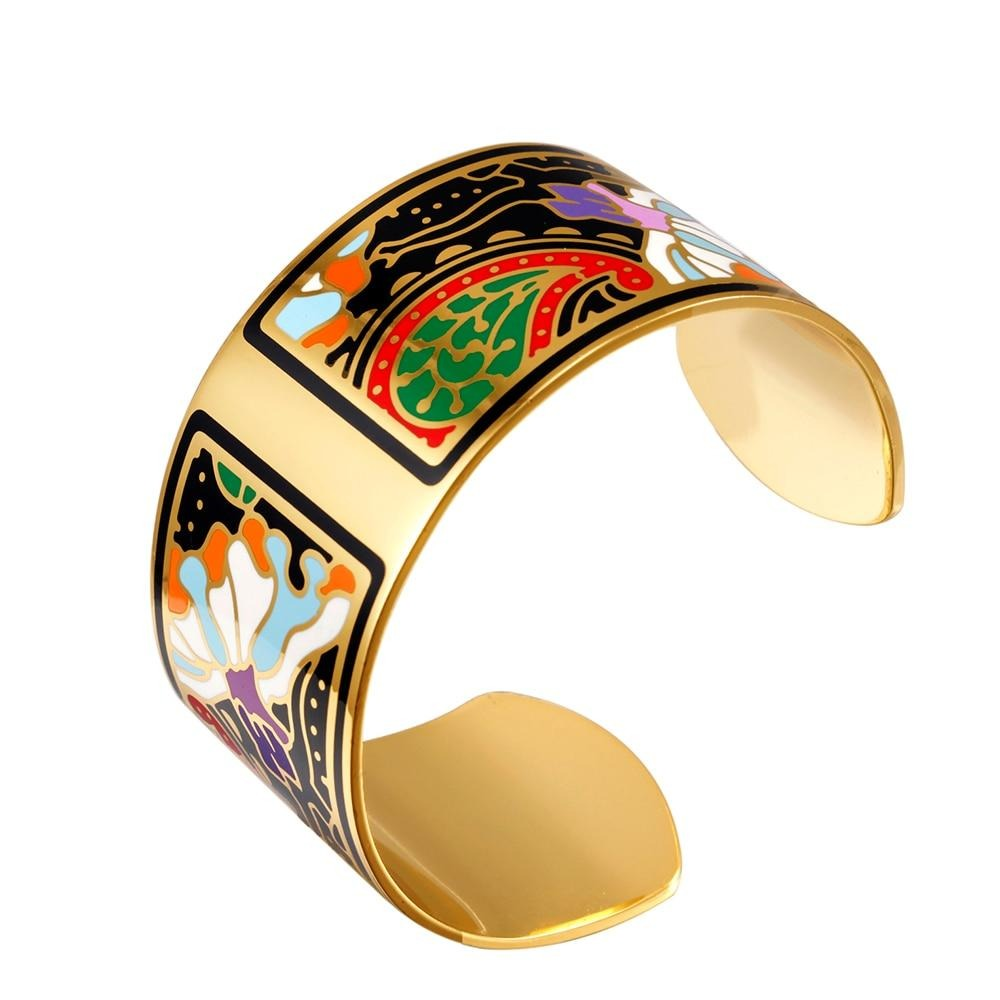 VAROLE Fashion Wide Bracelet Bangle Color Design Pattern Opening Bracelet for Women Mother Enamel Gold Bracelets Jonc Pulseras