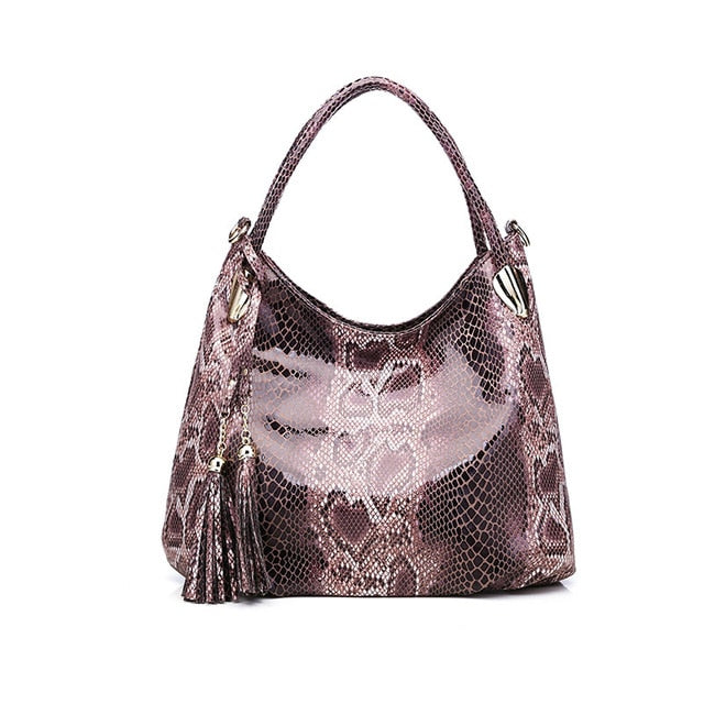 Luxury  Design Chain Bag  Shoulder Women  Bag Genuine Leather Handbag High Quality Serpentine Crossbody Bag With Tassel Lady