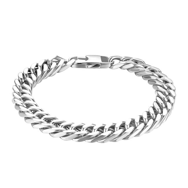 "Durable Black Stainless Steel Bracelet Men Heavy Wide Mens Curb Chain Link Bracelet 8""/ 8.66"" Two Size Selecion (with Gift Bag)"