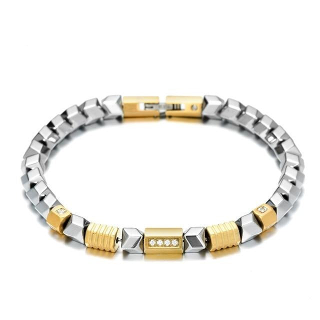 REAMOR Unique Silver Color Hematite Bracelet Freedom DIY Zircon Golden Beads Stainless Steel Link Bracelet Handmade Men Jewelry