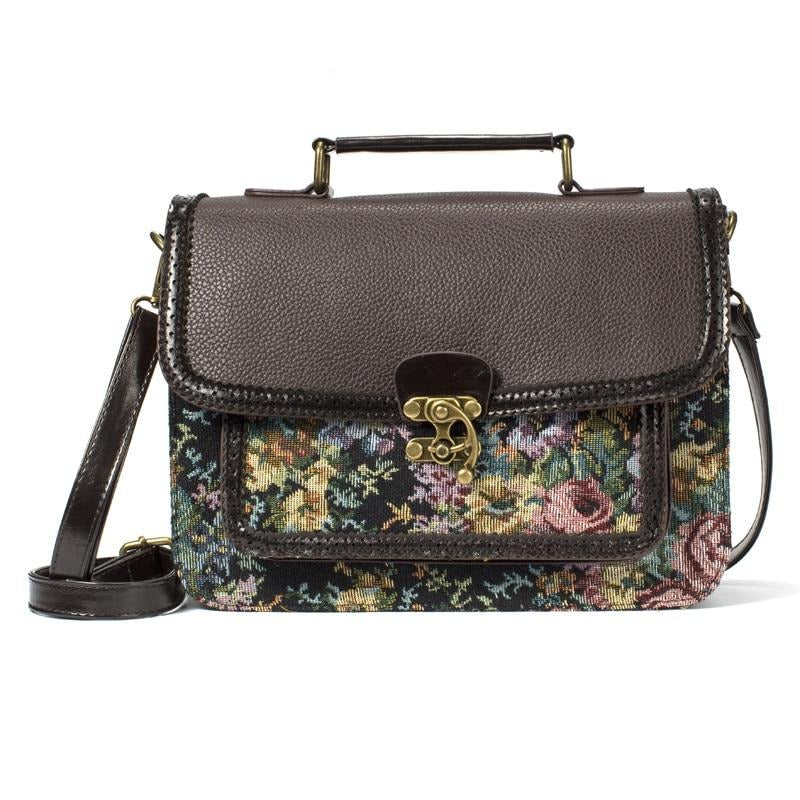 Annmouler Vintage Women Shoulder Bag Designer Handbag Purse Pu Leather Floral Crossbody Bag Fabric Retro Briefcase Bag