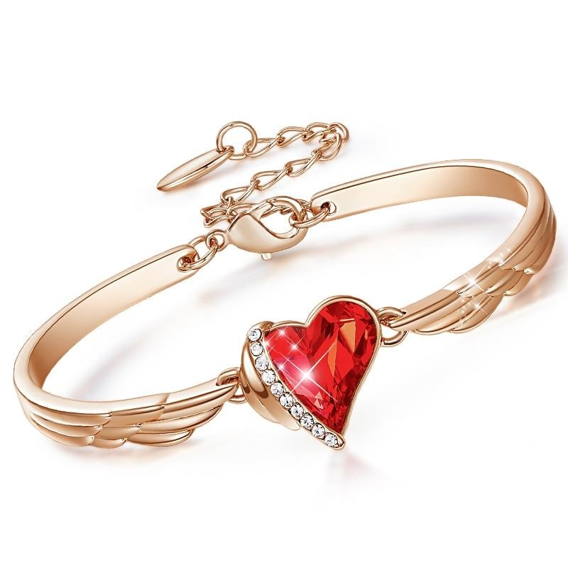 CDE Fashion Red Heart Crystal from Swarovski Charm Bangles Women Gold Color Copper Jewelry Bangle Bracelet for Party Gift
