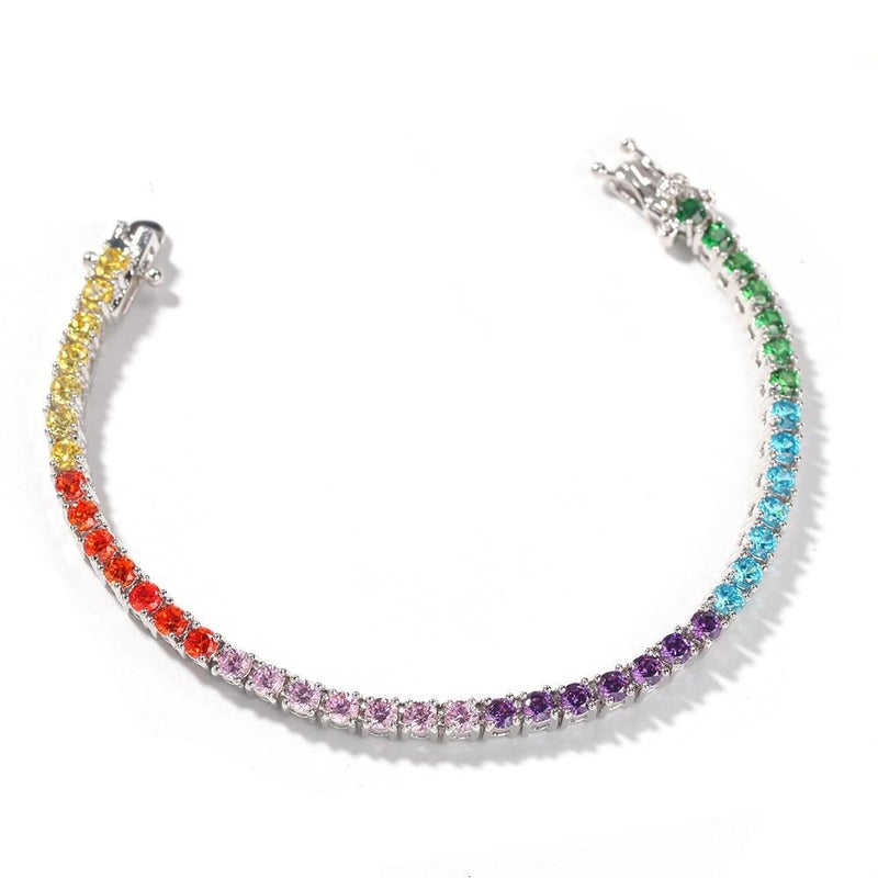 4mm Cubic Zircon Tennis Lovely Link Bracelet Colorful Plated Luxury Copper Micro Paved CZ Cuban Chain 8inch