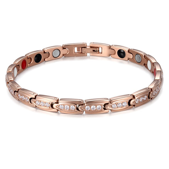 RainSo Stainless Steel Fashion Gold Magnetic Women Bracelets Health Elements Bio Energy Therapy Jewelry Friendship Gift 2020