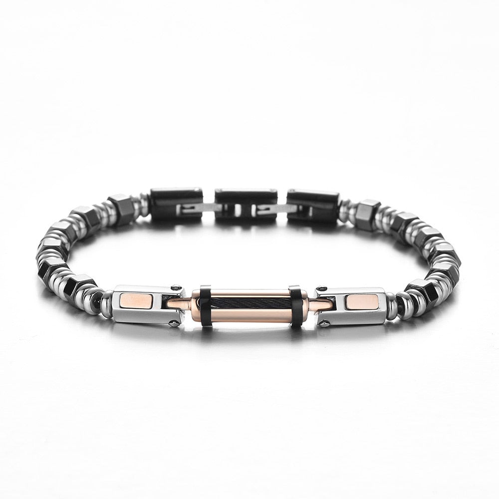 REAMOR 2020 Rose Golden Stainless Steel Connector Bracelets  Silver Color Hematite Detachable Clasp Bracelets For Men Jewelry