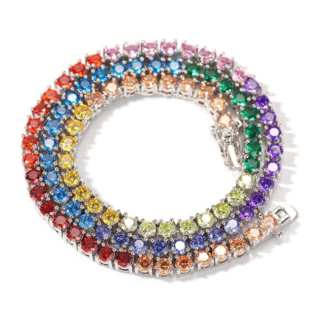 THE BLING KING 1 Row colorful 4mm CZ Tennis lovely Necklace Copper Hip Hop Round Cut Iced Out Cubic Zirconia Mens Jewelry