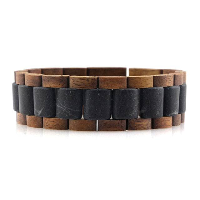 dropshipping vintage stone wooden bracelet for men chinese engraving male thick marble walnut wood pulceras bangle