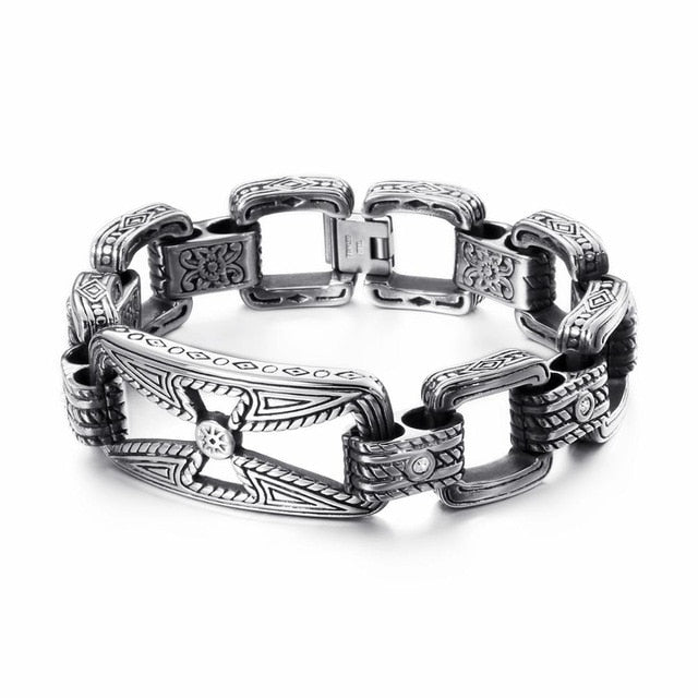 KALEN Punk Cross Bracelet Men's Stainless Steel 21.5cm 22cm Cross Cruz Charm Bracelet Heavy Chunky Bangle Jewelry Accessories