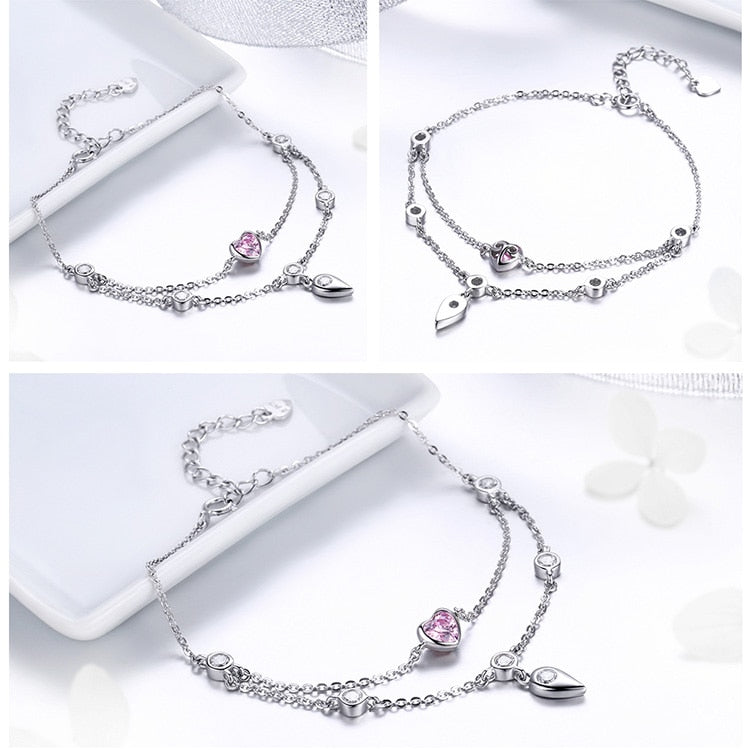 BAMOER Romantic New 925 Sterling Silver Sweet Heart Pink CZ Double Layers Bracelets for Women Sterling Silver Jewelry SCB090