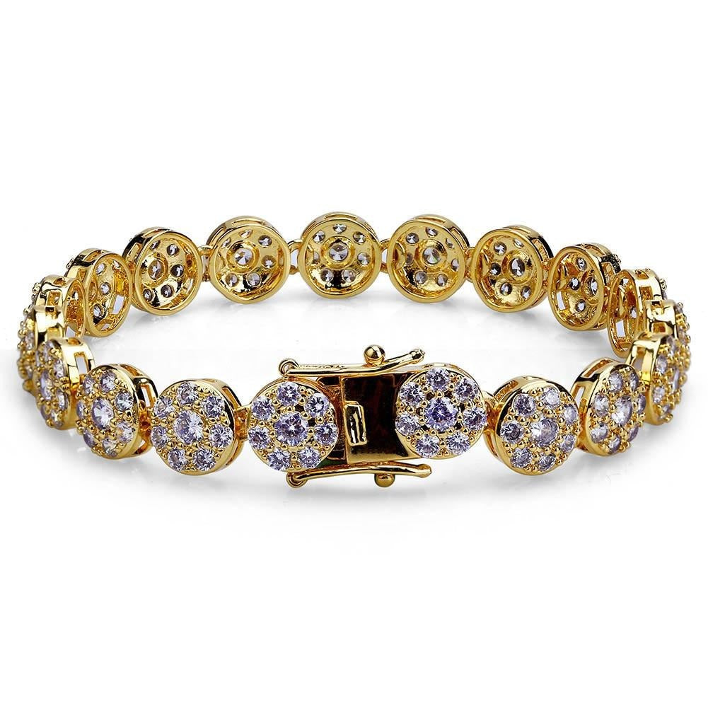 TOPGRILLZ Gold/Silver Color Plated Iced Out Bling Jewelry Bracelet Round Micro Pave CZ Stone 10mm Bracelets For Men And Women
