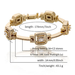 TOPGRILLZ New Luxury Fashion Baguette Bracelet Ice Micro Pave Cubic Zirconia High Quality Hip Hop Punk Style Jewelry For Women