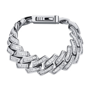 TOPGRILLZ Mens Bracelet 18mm Baguette Prong Cuban Link Bracelet CZ Iced Out Chain High Quality Hip Hop Luxury Jewelry For Gift
