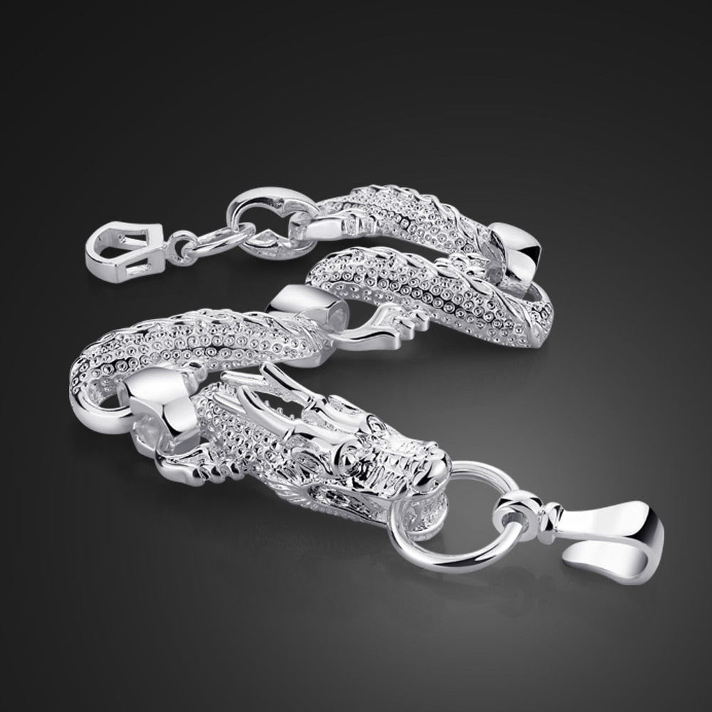 Fashion Men 15MM 9 inches Bracelet 100% 925 Sterling Silver Man Vintage Punk Style  dragon bracelet Male Cool Jewelry