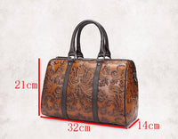 New Arrival Women Genuine Leather Embossed Tote Handbag Casual Travel Messenger Shoulder Bag Large Capacity Crossbody Bags