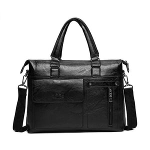 Famous Designer JEEP BULUO Brands Men Business Briefcase PU Leather Shoulder Bags For 14 Inch Laptop Bag big Travel Handbag 6013