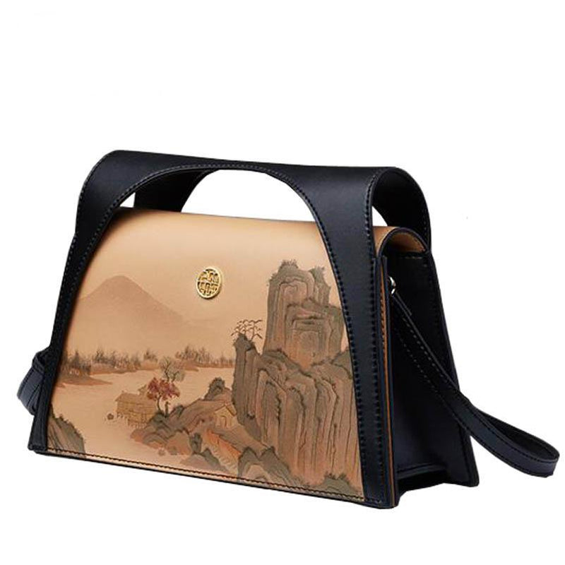New women leather bags fashion landscape painting luxury handbags designer women bag tote handbags Crossbody bags