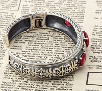 Szjinao Antique 925 Sterling Silver Charm Bracelet with Love Red Stone Women Wedding Wholesale Valentine's Day Gift Hot Sale