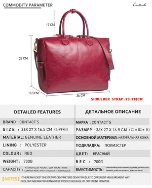 Contact's genuine leather Large Tote Bags Red European Brand Designr High Quality Women Handbags Roomy Big to Holder Laptop Easy
