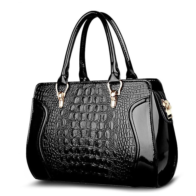 SUUTOOP Women Crocodile Pattern Handbag Leather Large Shoulder Bag Black Female Hobos Bag Alligator Handbag Messenger Bags