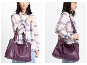 Zency Luxury Purple Women Shoulder Bag 100% Genuine Leather Handbag Fashion Tote Hobos Purse Charm Lady Crossbody Messenger Bags