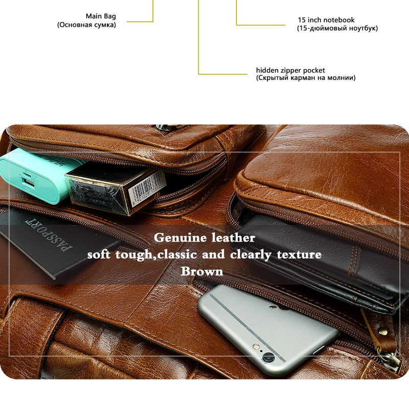 WESTAL Multifuction Men's Briefcases Laptop Bags 14 Leather Bag for Document Men Computer Messenger Bag Men Leather Briefcases