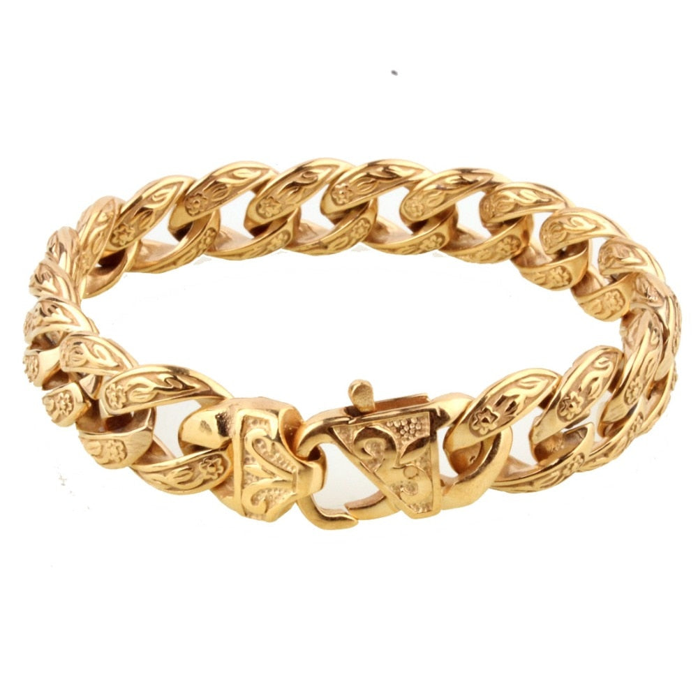 Hot Sale New Design Closure Chunky Double Curb Chain Bracelet for Men Gold Color Stainless Steel Male Punk Jewelry