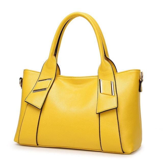 Women Saffiano Leather Bags Luxury Designer Famous Brand Capacity Tote Litchi Handbags Yellow Shoulder Bag Lady Sac a main 2019