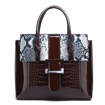 Serpentine+Crocodile Patent Pu Leather Tote Bolsa Mujer Shoulder Bags For Women 2019 Luxury Handbags Women Bags Designer Brand