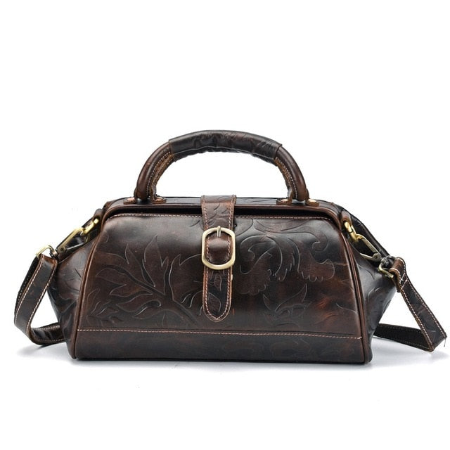Designer Oil Wax Leather Embossed Small Women Handbag High Quality Retro Cowhide Girls Message Bag Modern Fashion Shoulder Bags