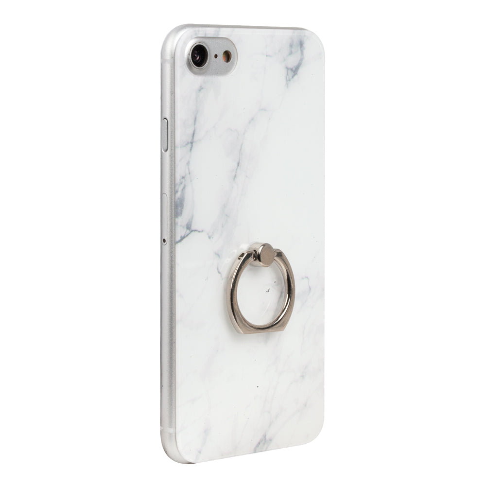 White Marble iPhone Back Protector with Phone Ring