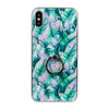 Green/Pink Tropical Leaves iPhone Back Protector with Phone Ring