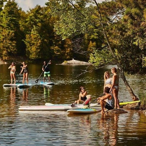 Stand up paddle boarders on inflatable and non inflatable paddle boards