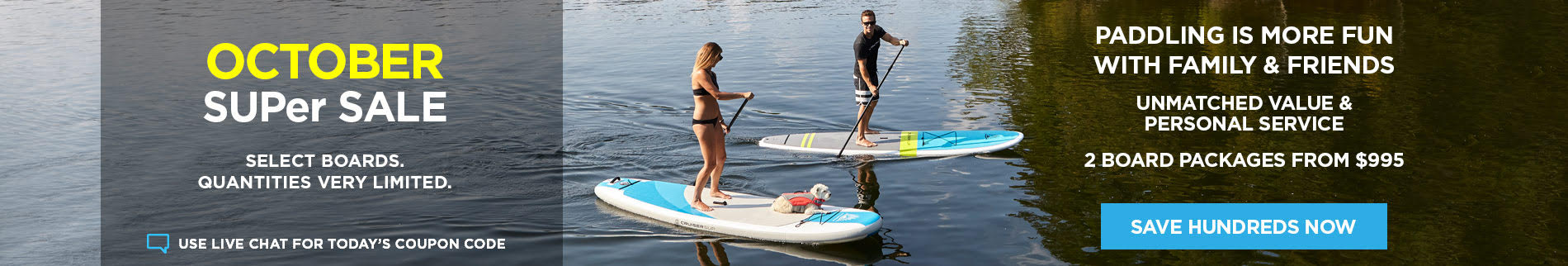 Stand Up Paddle Board SUPer Sale - Up to 40% Off Board Packages from $495