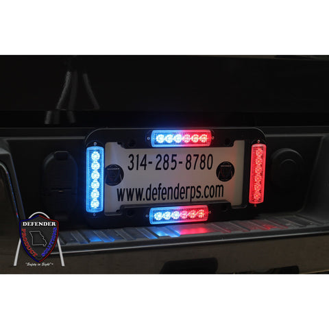 8EVP EOS LED Emegency Vehicle Warning Light License Plate Kit, Close up of Cruise mode with red and blue split LEDS.