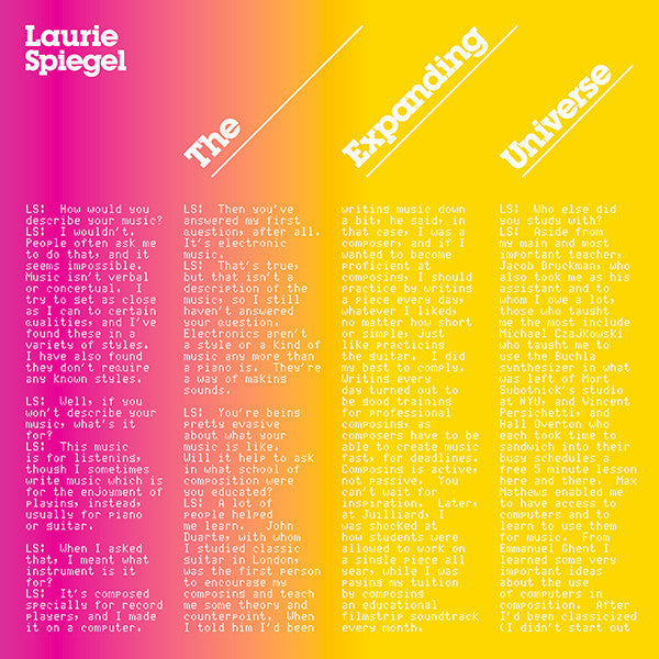 Laurie Spiegel - The Expanding Universe LP