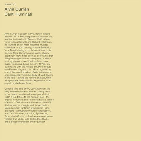 Alvin Curran - Canti Illuminati LP