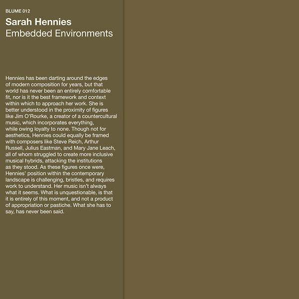 Sarah Hennies - Embedded Environments LP